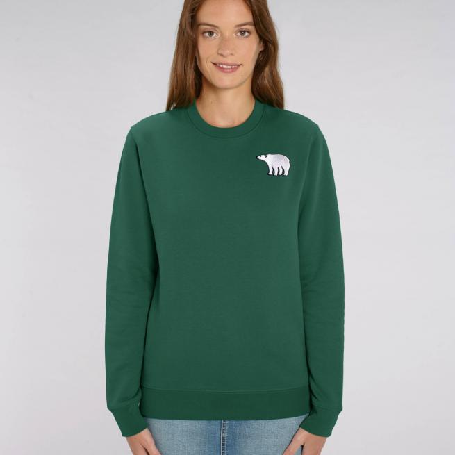 tommy and lottie adults organic cotton polar bear sweatshirt - bottle green