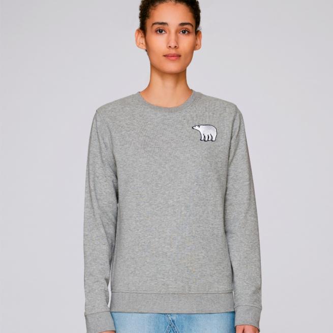 tommy and lottie adults organic cotton polar bear sweatshirt - grey marl
