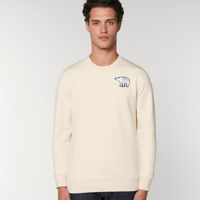 tommy and lottie adults organic cotton polar bear sweatshirt - natural