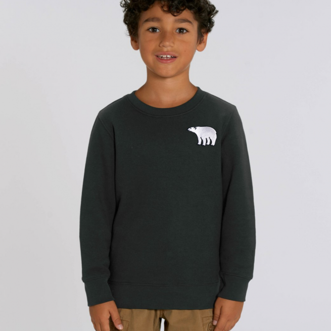 tommy & lottie kids eco friendly christmas jumper - polar bear - black