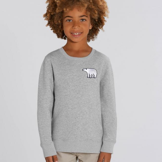 tommy & lottie childrens organic cotton polar bear sweatshirt - grey marl