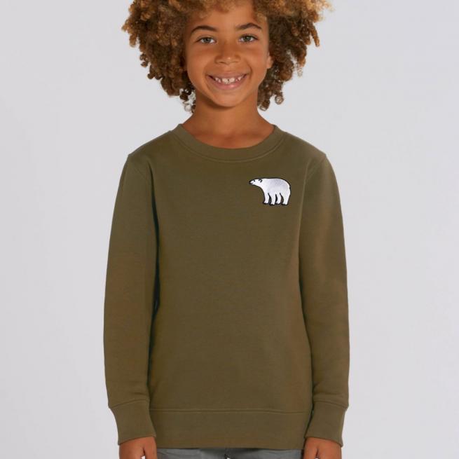 tommy & lottie childrens organic cotton polar bear sweatshirt - khaki