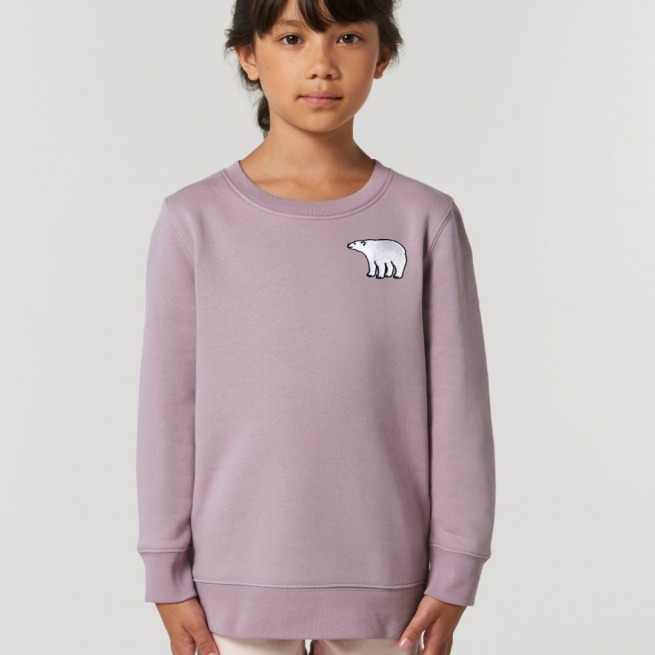 tommy & lottie childrens organic cotton polar bear sweatshirt - lilac petal