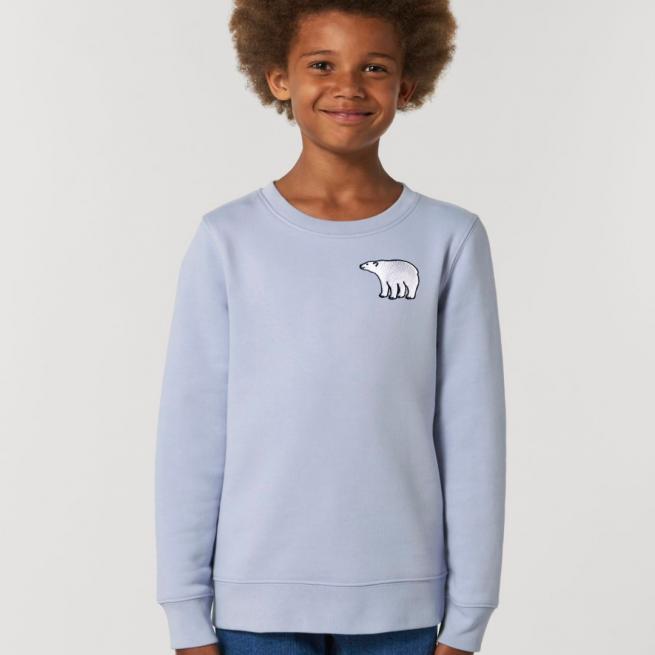 tommy & lottie childrens organic cotton polar bear sweatshirt - serene blue