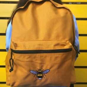 tommy & lottie eco friendly 100% recycled polyester back pack - bee - mustard