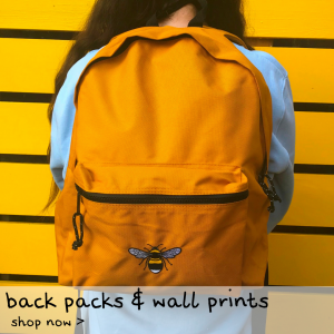 Tommy & Lottie back packs and wall prints