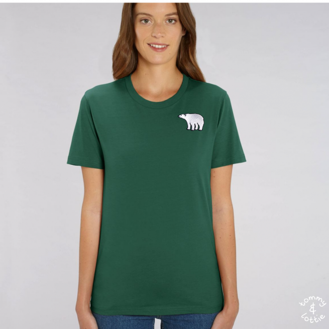 Tommy & Lottie Adults Organic Cotton Bottle Green Polar Bear T Shirt