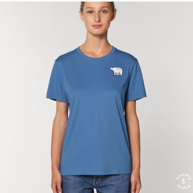 Tommy & Lottie Adults Organic Cotton Bright Blue Polar Bear T Shirt