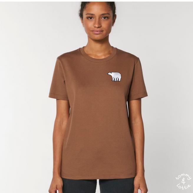 Tommy & Lottie Adults Organic Cotton Caramel Polar Bear T Shirt