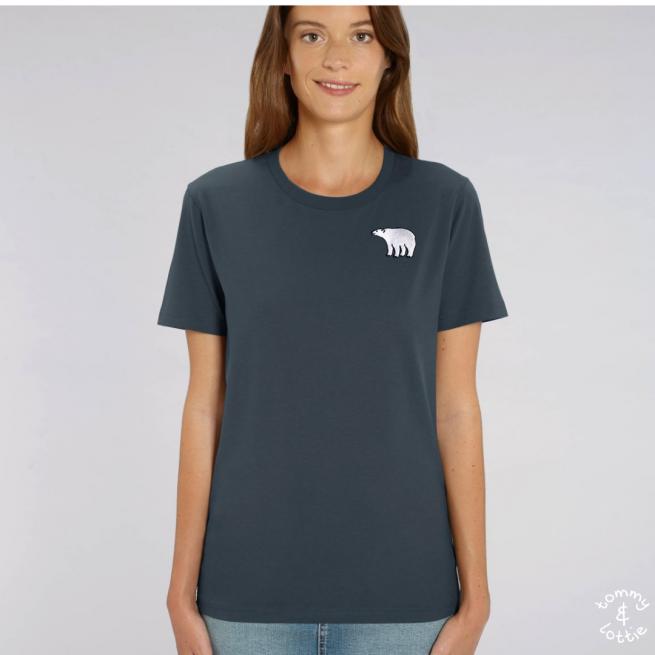 Tommy & Lottie Adults Organic Cotton Ink Grey Polar Bear T Shirt