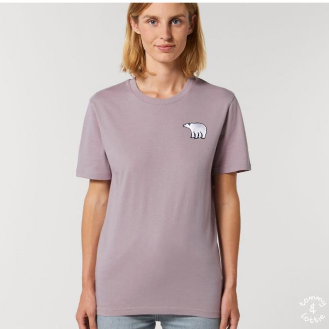 Tommy & Lottie Adults Organic Cotton Lilac Petal Polar Bear T Shirt