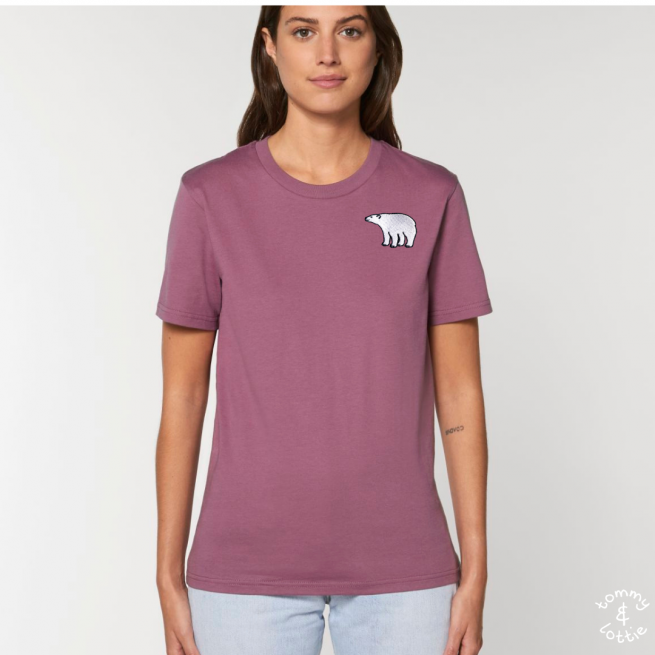 Tommy & Lottie Adults Organic Cotton Mauve Polar Bear T Shirt