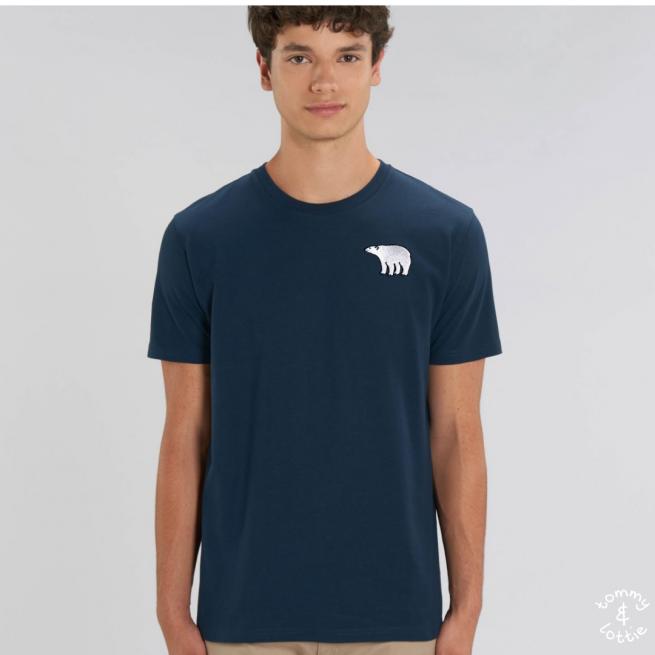 Tommy & Lottie Adults Organic Cotton Navy Polar Bear T Shirt