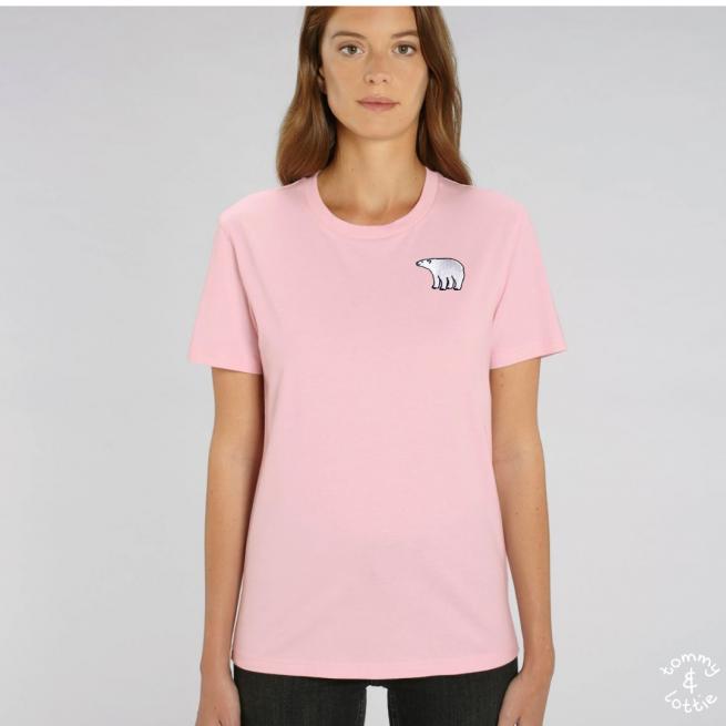 Tommy & Lottie Adults Organic Cotton Pale Pink Polar Bear T Shirt