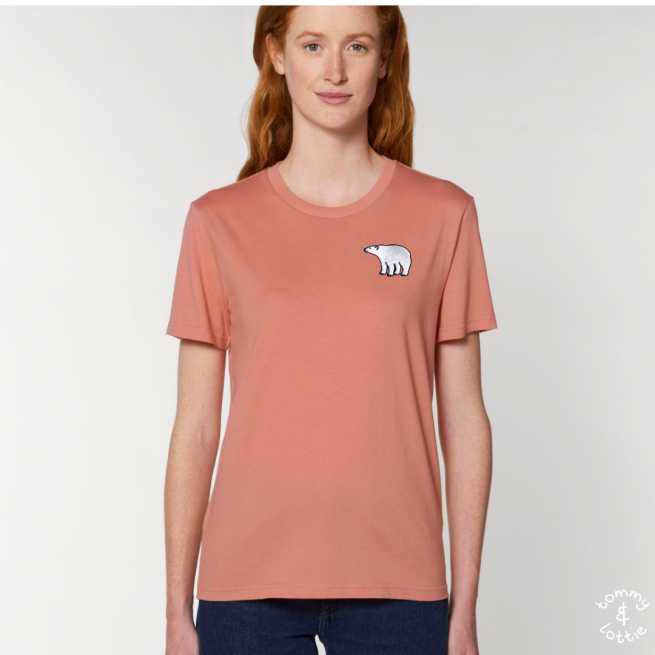 Tommy & Lottie Adults Organic Cotton Rose Clay Polar Bear T Shirt