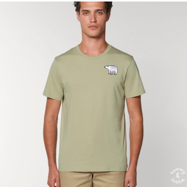 Tommy & Lottie Adults Organic Cotton Sage Polar Bear T Shirt