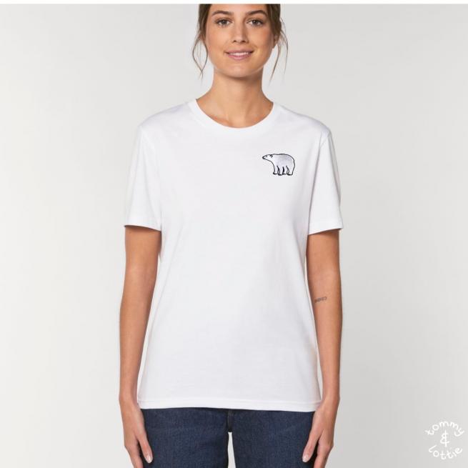Tommy & Lottie Adults Organic Cotton White Polar Bear T Shirt