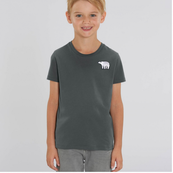 Tommy & Lottie Organic Cotton Kids Anthracite Polar Bear T Shirt
