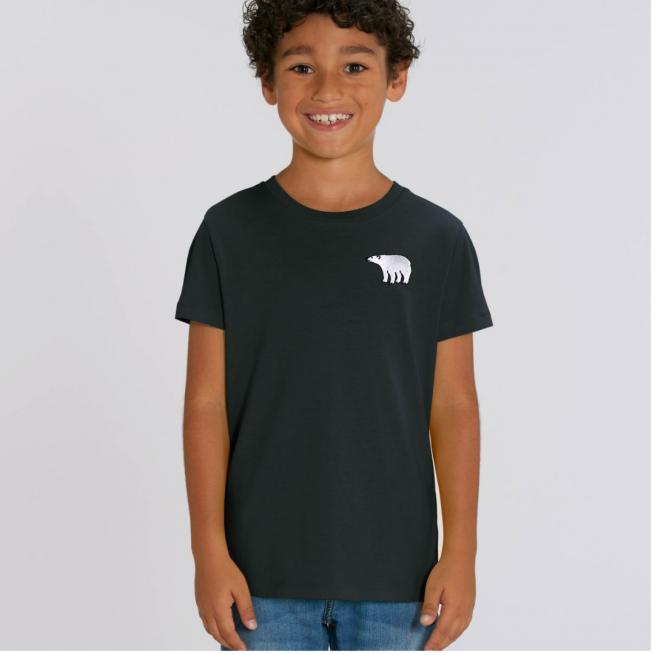 Tommy & Lottie Organic Cotton Kids Black Polar Bear T Shirt