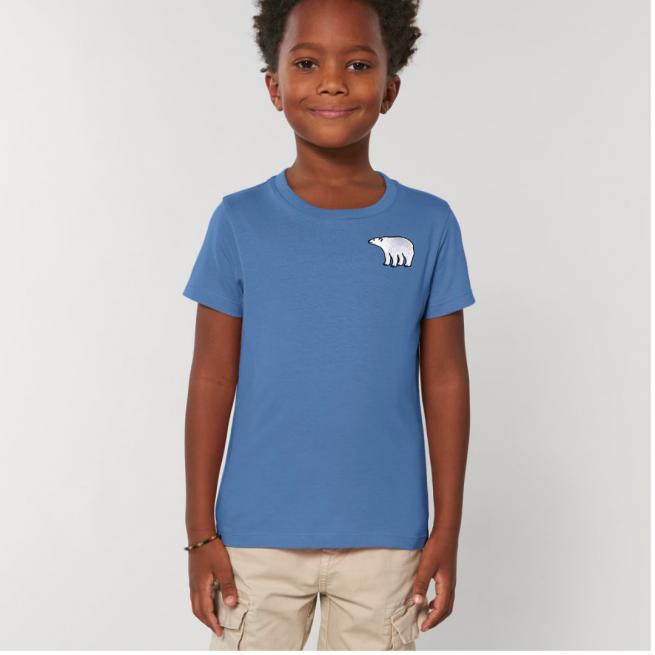 Tommy & Lottie Organic Cotton Kids Bright Blue Polar Bear T Shirt
