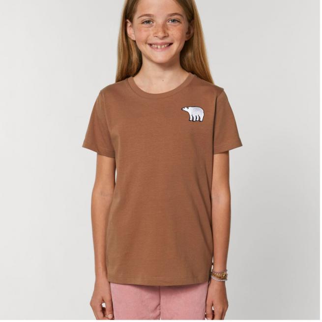 Tommy & Lottie Organic Cotton Kids Caramel Polar Bear T Shirt