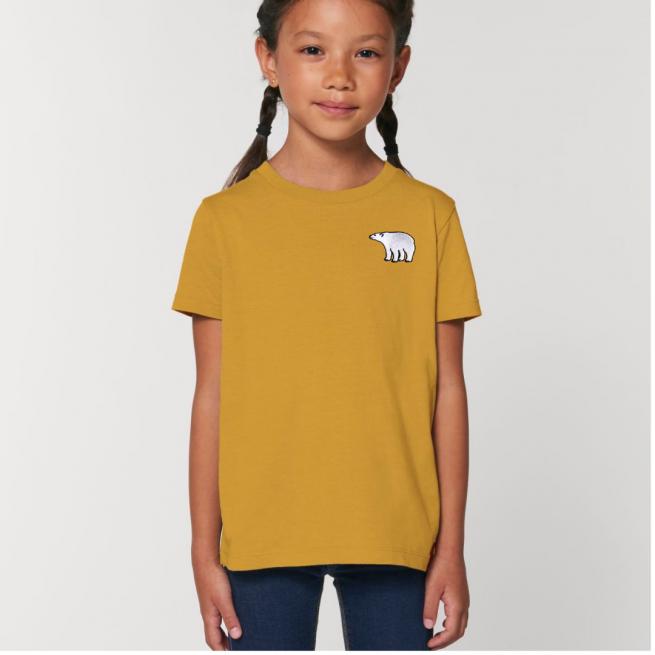 Tommy & Lottie Organic Cotton Kids Ochre Polar Bear T Shirt