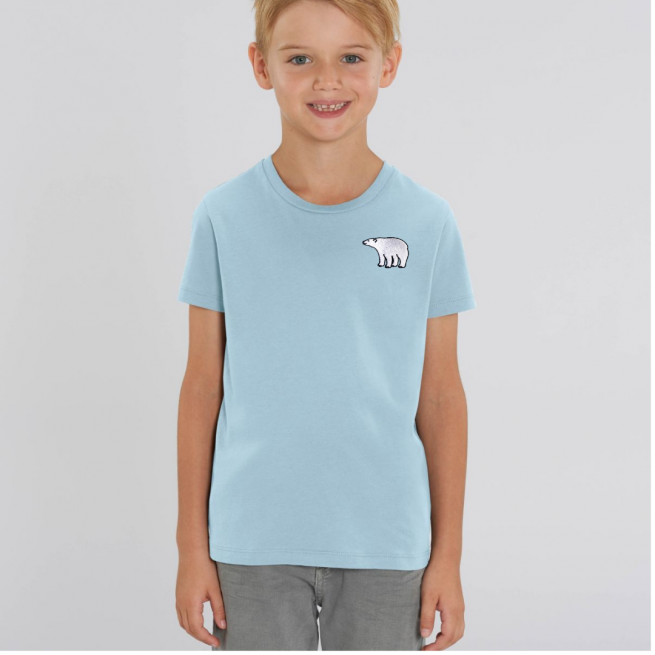 Tommy & Lottie Organic Cotton Kids Pale Blue Polar Bear T Shirt