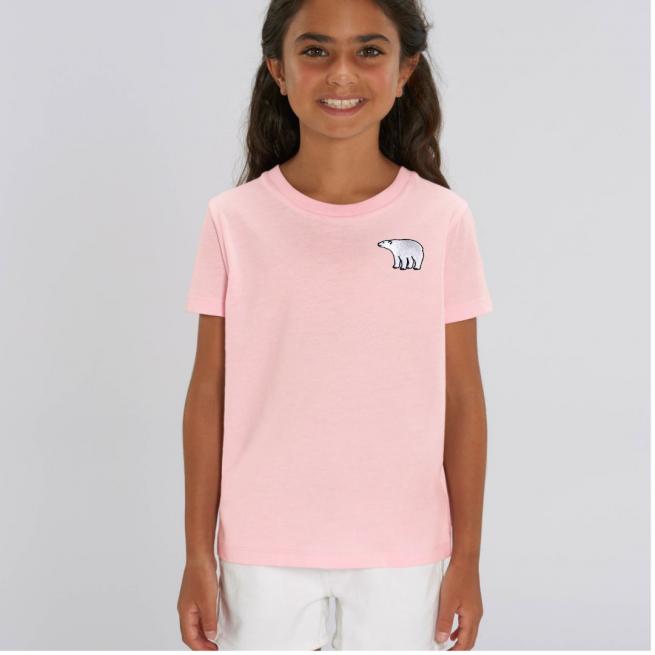 Tommy & Lottie Organic Cotton Kids Pale Pink Polar Bear T Shirt