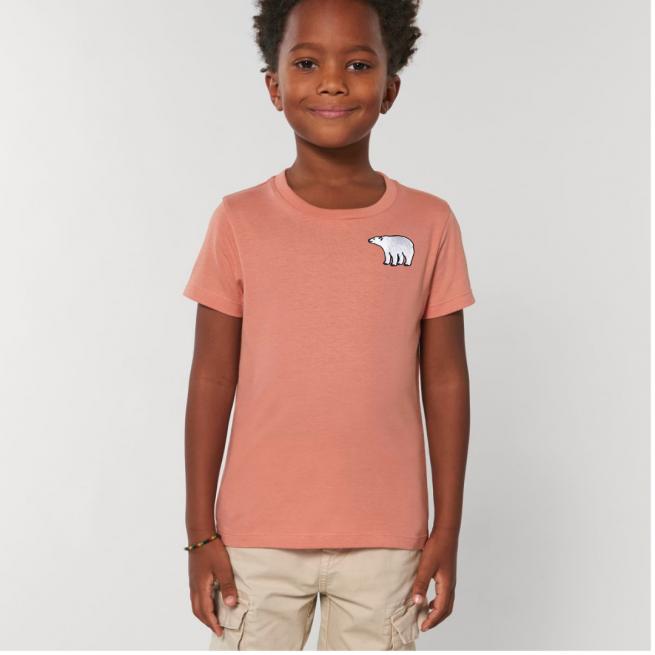 Tommy & Lottie Organic Cotton Kids Rose Clay Polar Bear T Shirt
