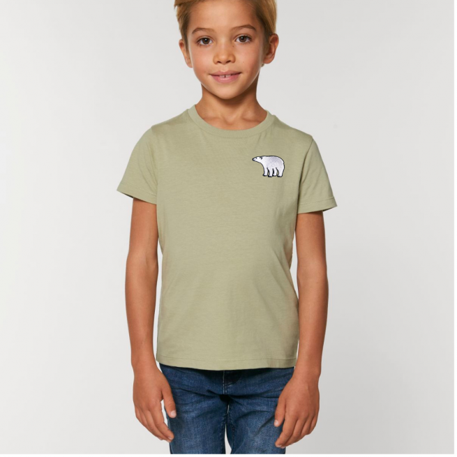 Tommy & Lottie Organic Cotton Kids Sage Polar Bear T Shirt