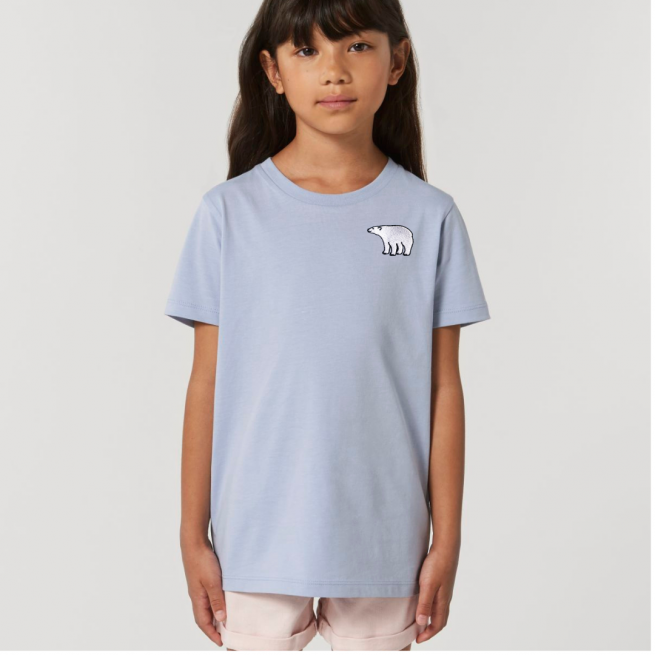 Tommy & Lottie Organic Cotton Kids Serene Blue Polar Bear T Shirt