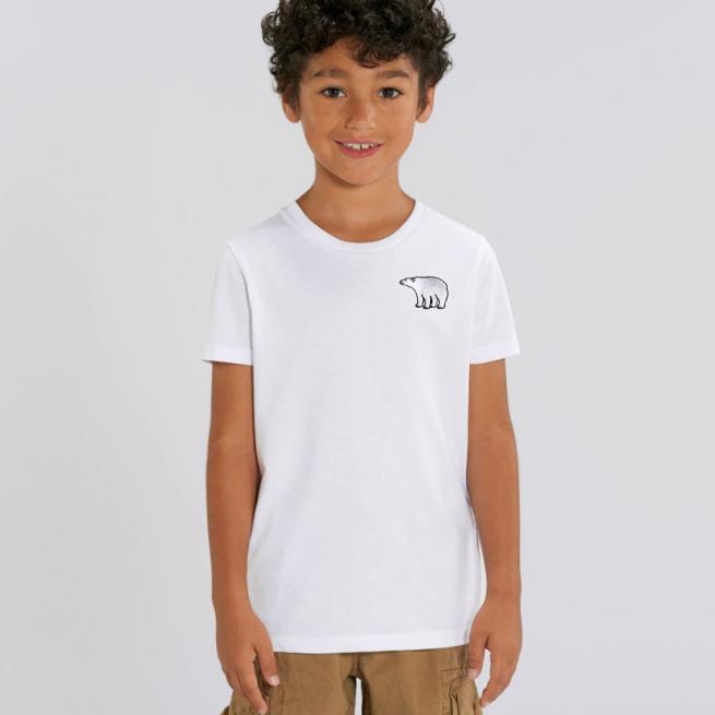 Tommy & Lottie Organic Cotton Kids White Polar Bear T Shirt