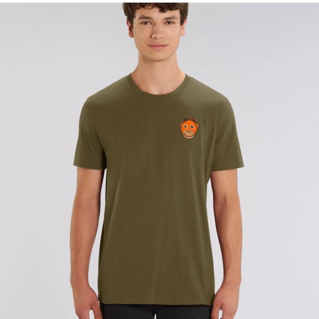 Tommy & Lottie Adults Organic Cotton Khaki Orangutan T Shirt