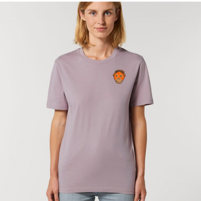 Tommy & Lottie Adults Organic Cotton Lilac Petal Orangutan T Shirt