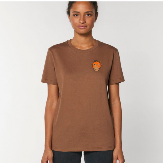 Tommy & Lottie Adults Organic Cotton Caramel Orangutan T Shirt
