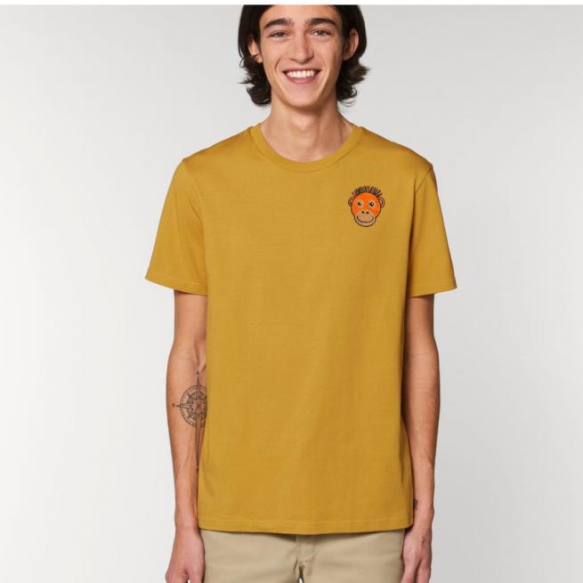 Tommy & Lottie Adults Organic Cotton Ochre Orangutan T Shirt