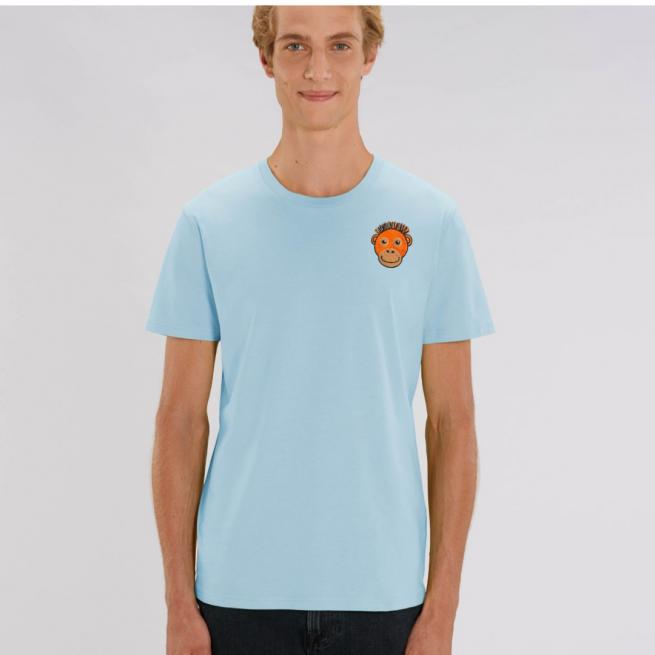 Tommy & Lottie Adults Organic Cotton Pale Blue Orangutan T Shirt