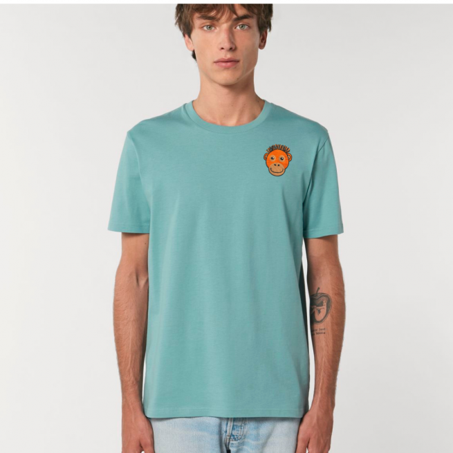 Tommy & Lottie Adults Organic Cotton Teal Monstera Orangutan T Shirt