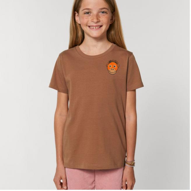 Tommy & Lottie Organic Cotton Kids Caramel Orangutan T Shirt
