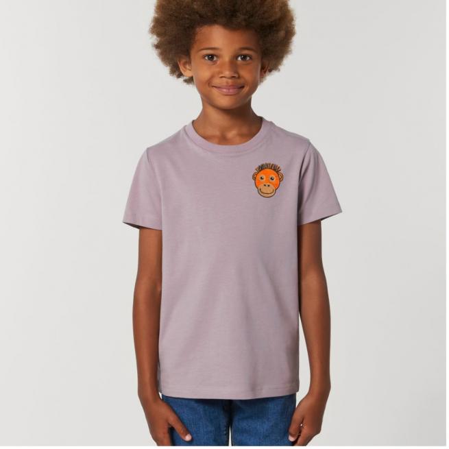Tommy & Lottie Organic Cotton Kids Lilac Petal Orangutan T Shirt