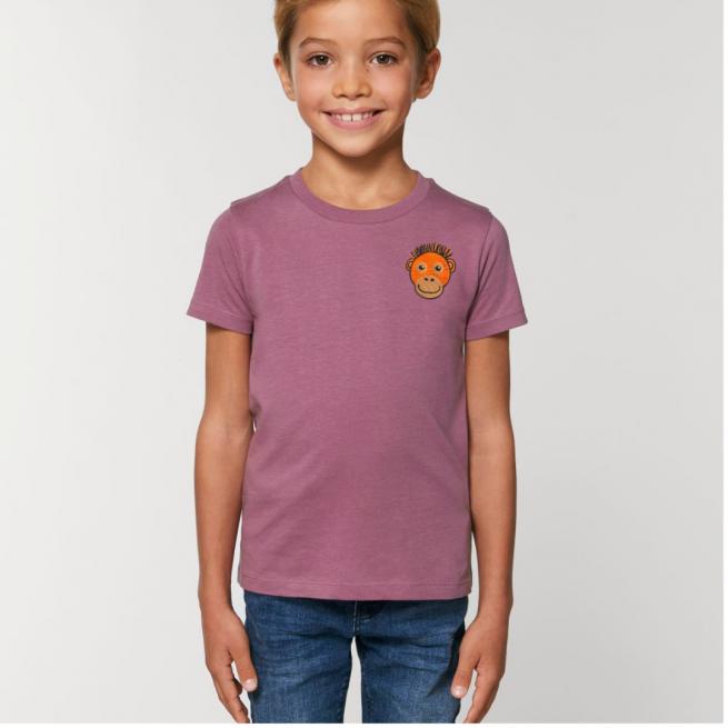 Tommy & Lottie Organic Cotton Kids Mauve Orangutan T Shirt