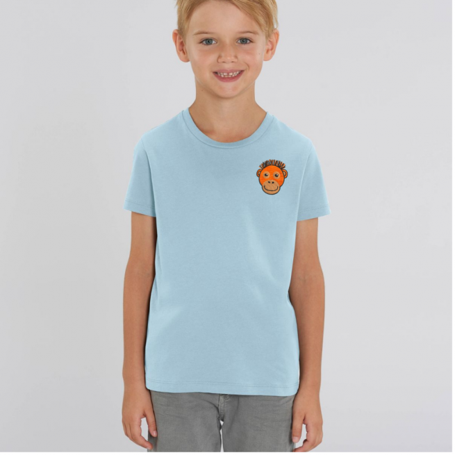 Tommy & Lottie Organic Cotton Kids Pale Blue Orangutan T Shirt