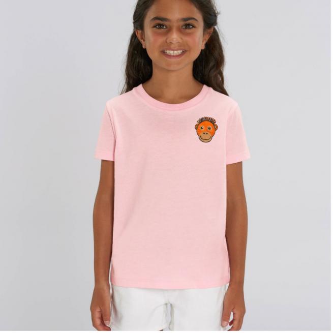 Tommy & Lottie Organic Cotton Kids Pale Pink Orangutan T Shirt