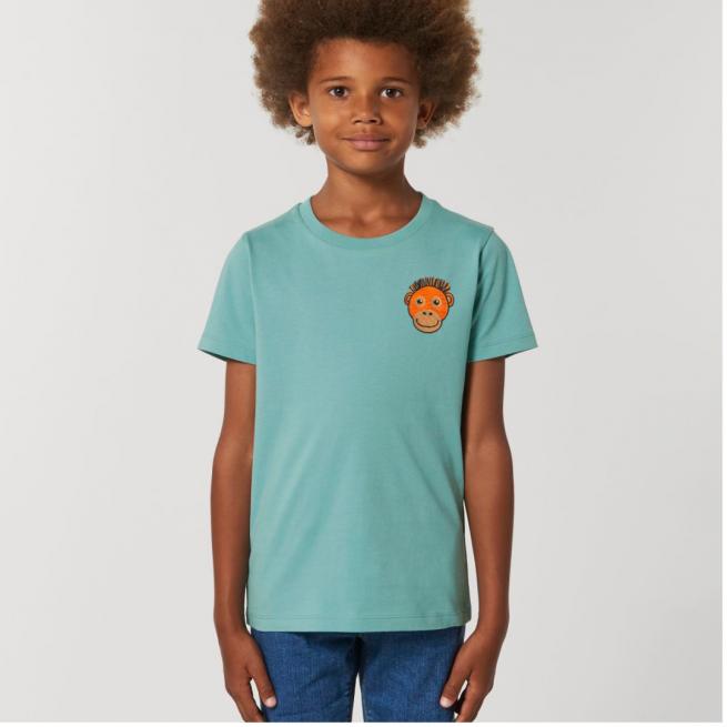Tommy & Lottie Organic Cotton Kids Teal Monstera Orangutan T Shirt