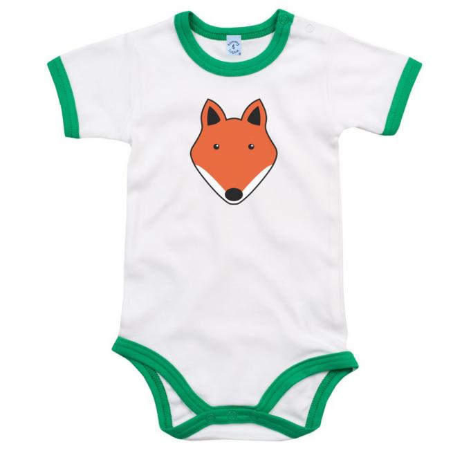 tommy & lottie organic cotton unisex fox design baby bodysuit with green edging