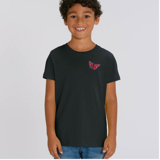 Tommy & Lottie Organic Cotton Kids Black Peacock Butterfly T Shirt