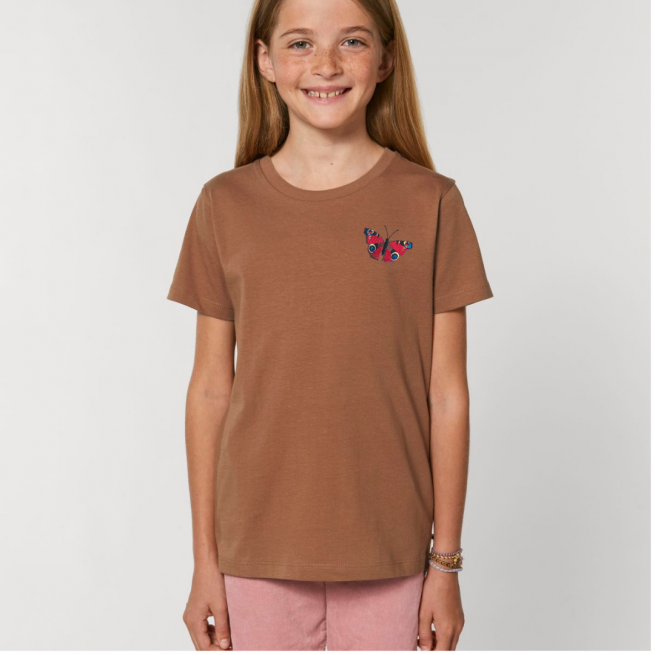 Tommy & Lottie Organic Cotton Kids Caramel Peacock Butterfly T Shirt