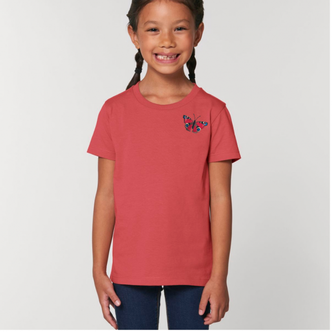Tommy & Lottie Organic Cotton Kids Carmine Red Peacock Butterfly T Shirt