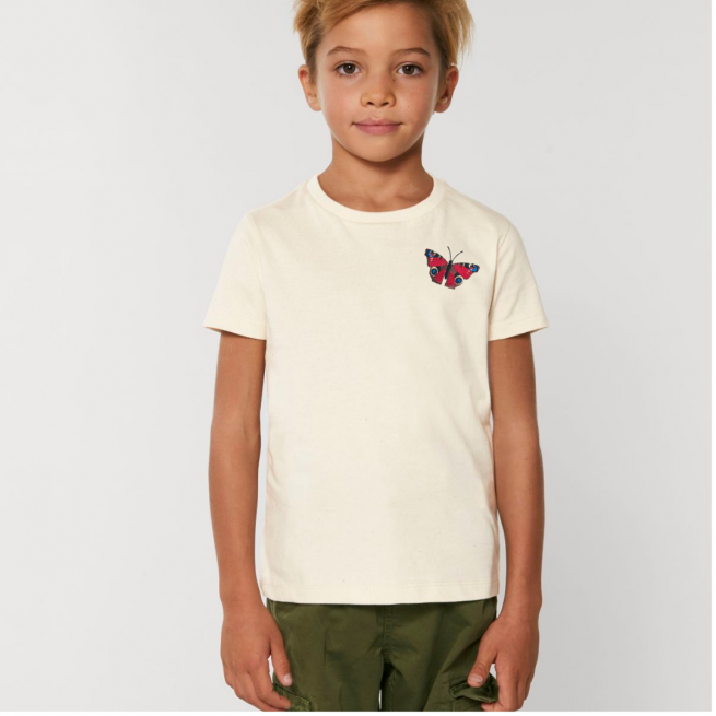 Tommy & Lottie Organic Cotton Kids Natural Peacock Butterfly T Shirt