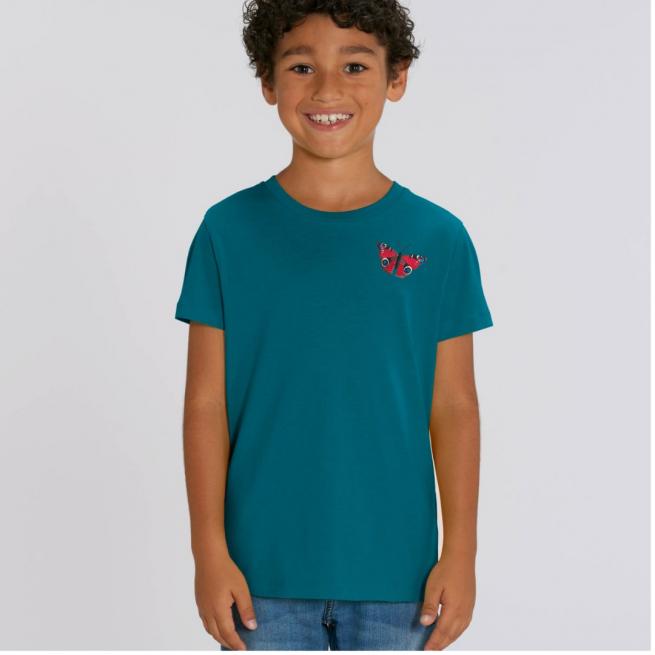 Tommy & Lottie Organic Cotton Kids Ocean Depth Peacock Butterfly T Shirt